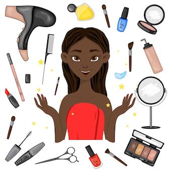 Garota de pele escura rodeada de itens de beleza. estilo de desenho animado.