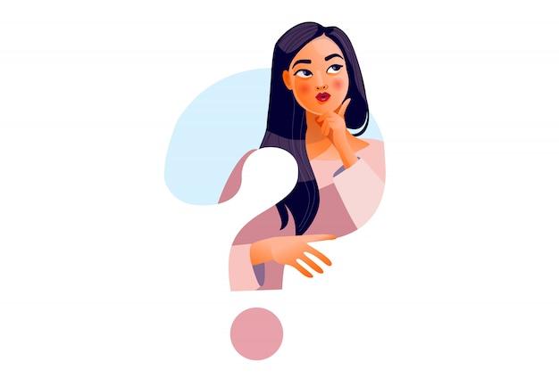 Garota de pensamento. rosto bonito, dúvidas, problemas, pensamentos, emoções. mulher curiosa