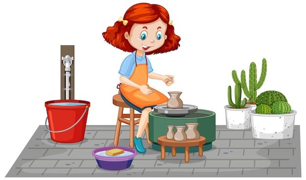 Garota de personagem de desenho animado fazendo argila de oleiro em fundo branco