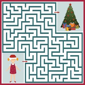 Garota de quebra-cabeça de labirinto de natal e árvore de natal, ilustração vetorial de cor.