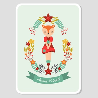 Garota de raposa bonito no outono elemento para cartão de outono
