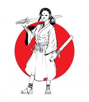 Garota de samurai mascarada em pé