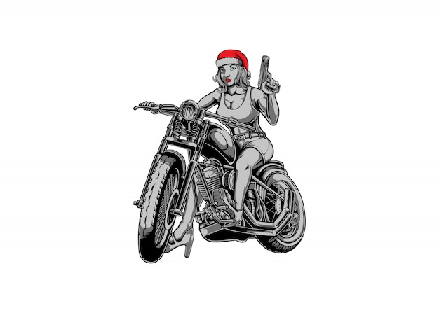 Garota de santa motociclista