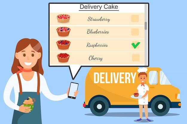 Garota de serviço de entrega com menu de bolos no telefone.