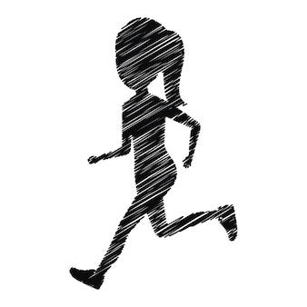 Garota de silhueta correndo ícone design isolado