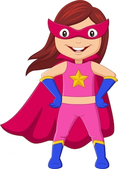 Garota de super-herói feliz dos desenhos animados posando