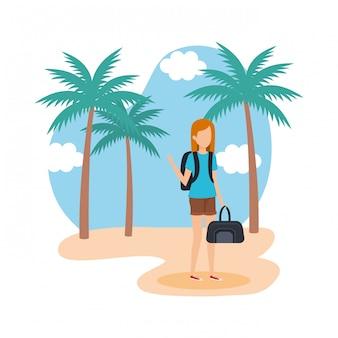 Garota de turista com bolsa na praia