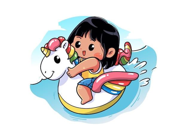 Garota de verão fofa e kawaii está sentada e nadando na bóia de unicórnio chibi