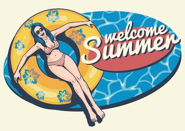 Garota de verão retrô na piscina
