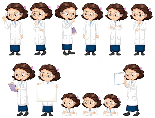 Garota de vestido de ciência fazendo poses diferentes
