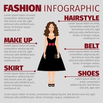 Garota de vestido preto infográfico de moda