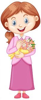 Garota de vestido rosa com branco