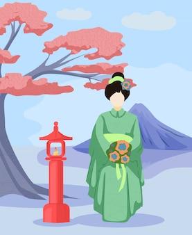 Garota de vestido verde japonês com flores nas mãos