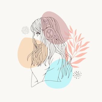 Garota desenhada à mão usando fone de ouvido usando estilo de linha de arte