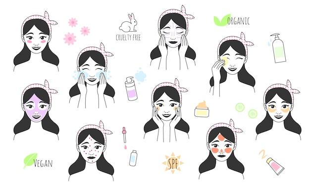 Garota desenhada mão cuida de seu rosto. procedimentos de cuidados com a pele. ícone de estilo de linha de tratamentos de beleza diários. cuidados com a pele, tratamento da acne, maquiagem de lavagens, massagem facial.