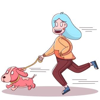 Garota desenhada mão, movimentando-se com um cachorro