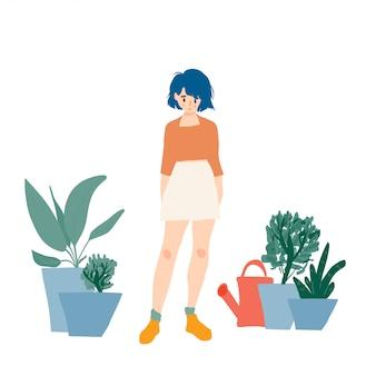 Garota desenhada mão no jardim de casa