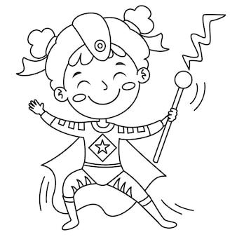 Garota disfarçada com capa e máscara, página de desenho para colorir para crianças