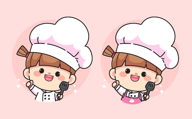 Garota do chef fofa sorrindo segurando o logotipo da espátula desenhada à mão ilustração da arte dos desenhos animados