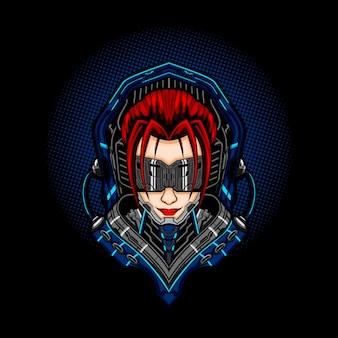 Garota do cyberpunk mecha