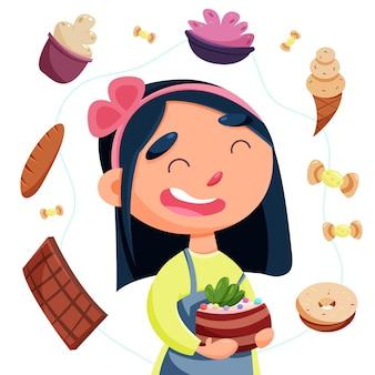 Garota do dia internacional sem dieta com um bolo nas mãos