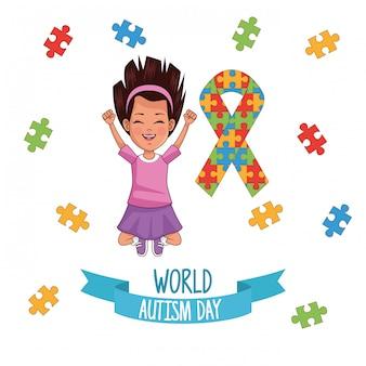 Garota do dia mundial do autismo com design de ilustração vetorial quebra-cabeça fita