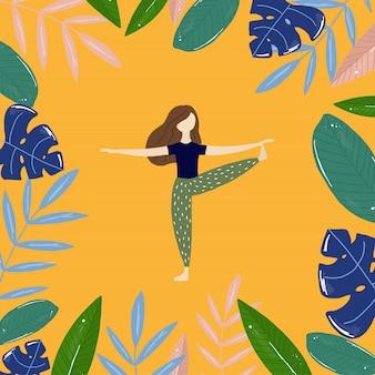 Garota do yoga e folhas tropicais