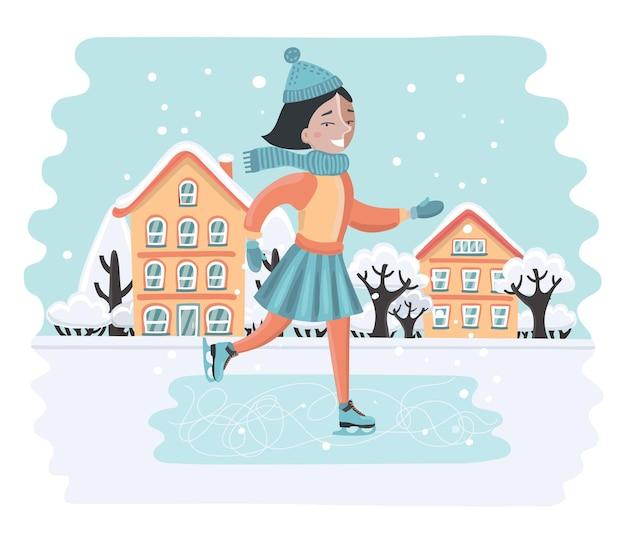 Garota doce e feliz andando de patins de gelo