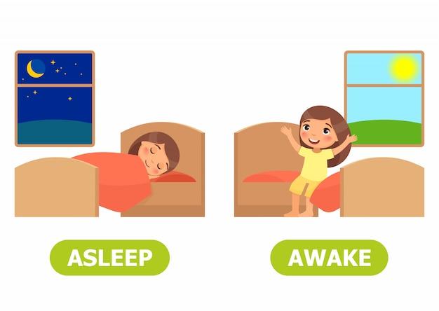 Garota dorme na cama, garota acorda e senta-se na cama