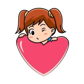 Garota dos desenhos animados segurando um coração vermelho