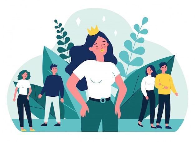 Garota egoísta e ilustração da sociedade Vetor Premium