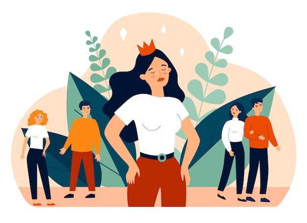 Garota egoísta e sociedade ilustração em vetor plana