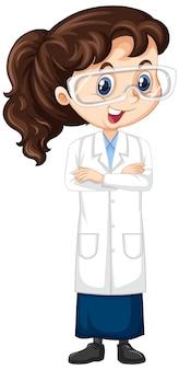 Garota em bata de laboratório