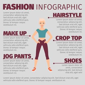 Garota em esportes terno moda infográfico