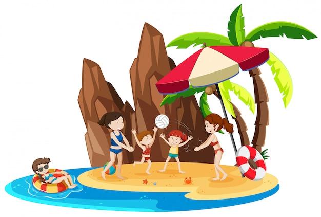 Garota em férias na ilha