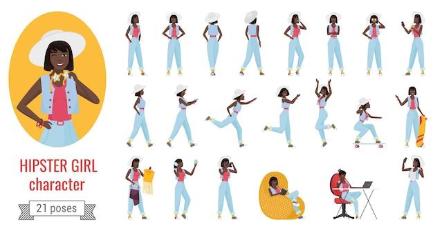 Garota em poses de jeans e chapéu definir jovem hippie em pé andando trabalhando correndo