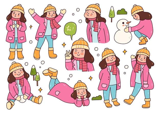 Garota em poses diferentes jogando neve lá fora