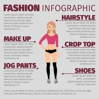 Garota em roupas de fitness moda infográfico