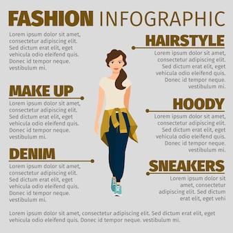 Garota em roupas esportivas moda modelo infográfico