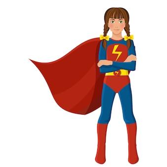 Garota em traje de super-heróis