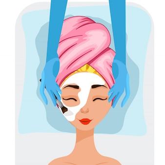 Garota em um procedimento cosmético. estilo dos desenhos animados.