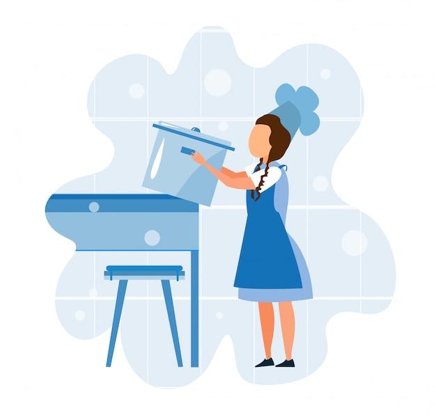Garota em uniforme de chef tomando ilustração de pote