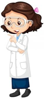 Garota em vestido de ciência em branco