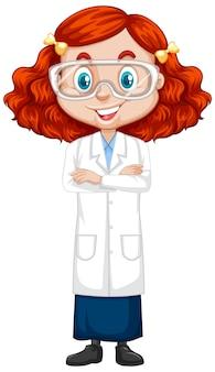 Garota em vestido de ciência isolado