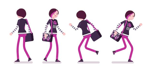 Garota emo em pose de caminhada e corrida
