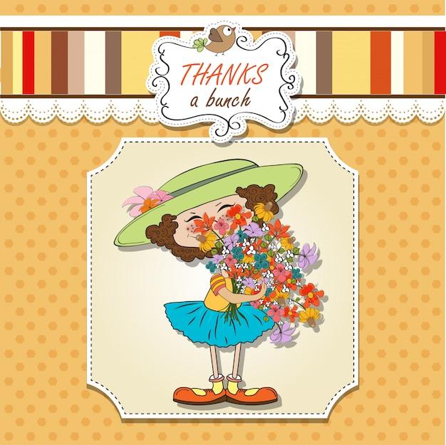 Garota engraçada com um buquê de flores