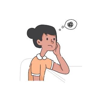 Garota entediada procrastinar o conceito de desenho animado