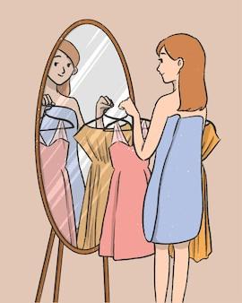 Garota escolhendo um vestido na frente do personagem de desenho animado espelho