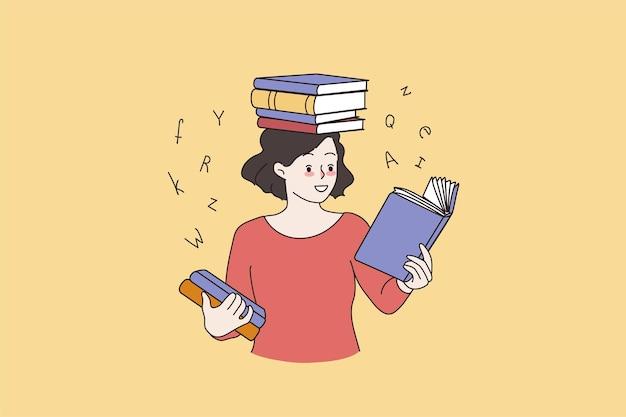 Garota esperta lendo livros se preparando para o exame