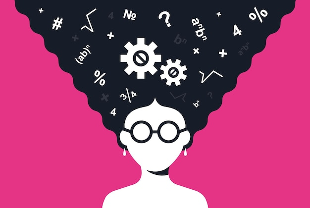 Garota esperta resolve um problema de matemática. ilustração em vetor personagem plana.